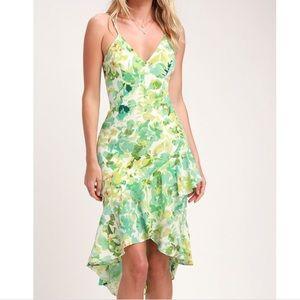 Dress the Population Leaf Print Green Dress
